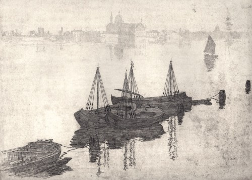 Sir Arthur Streeton The Lagoon and Barges, Venice.sm