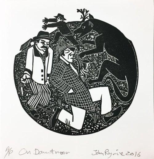 John-Ryrie--Arthur-Conan-Doyle--On-Dartmoor--linocut