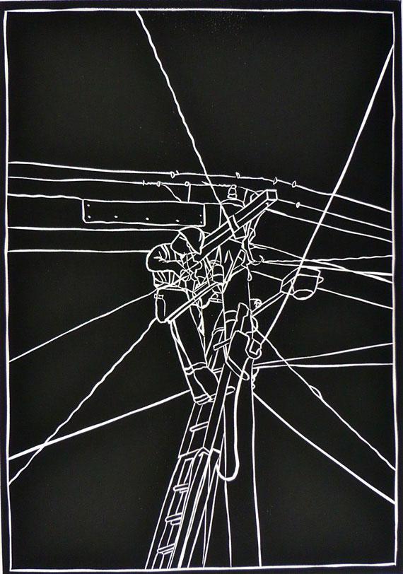 Sharron-Okines-LINEY'S-VII--Linocut-2010