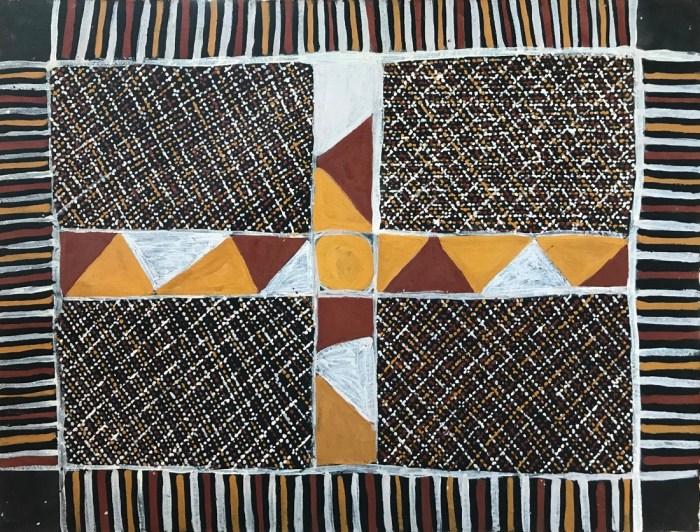Rachel Puruntatameri Merican Jilamara56 x 76 cm Natural Ochres on Paper
