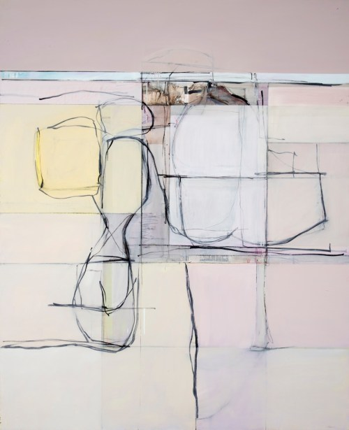 John Waller Abstraction Landscape and figure 2019 152 x 122cm