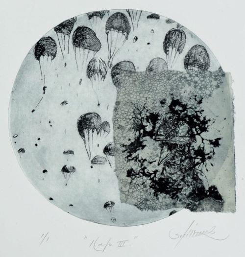 Lisa Sewards Halo III etching chine-colle