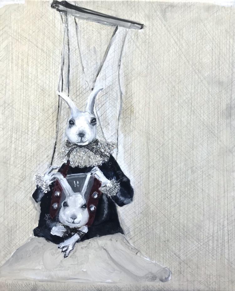 Soula Mantalvanos Hare's heads acrylic & graphite on canvas