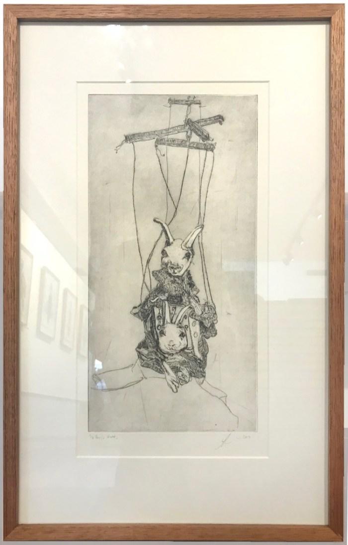 Soula Mantalvanos Hare's Heads etching framed