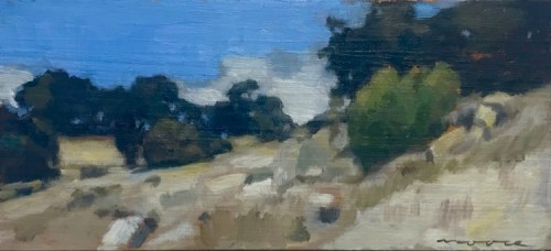 David Moore Rocky Ridge Harquart Oil on wood panel 13cmx28cm $1400.tif