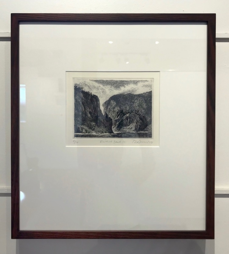 Rick Amor Erith and Deal Islands, 2017 Etching framed