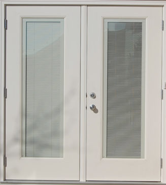 White fiberglass garden door with mini-blinds