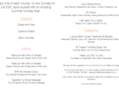 Summer Sunday Set Menu