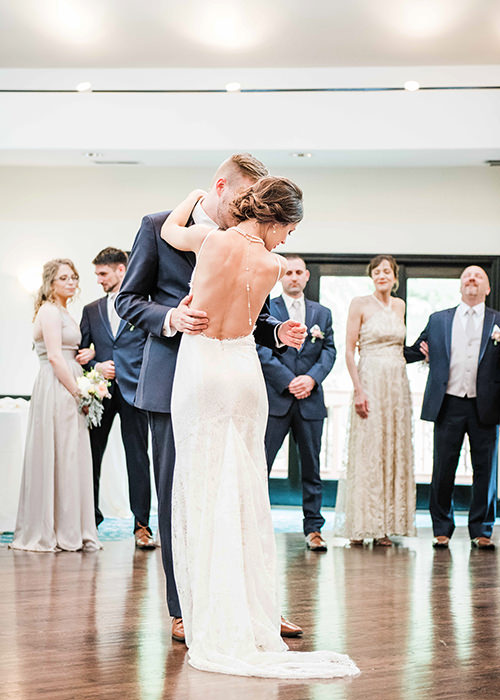 bride and groom first dance at Wedgewood Granite Rose Q Hegarty Photography wedding photographer near Hampstead, NH