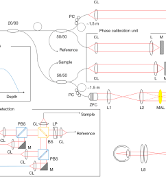 figure 1 schematic of msc sao oct system zoomable fiber collimator zfc multi actuator adaptive lens mal variable focus lens vfl polarization  [ 1868 x 1308 Pixel ]