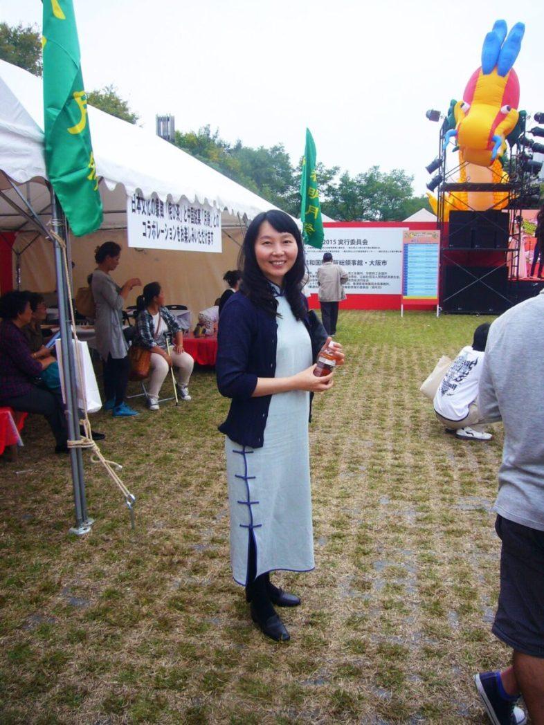 旗袍のファッション・ショー。中秋明月祭(於難波宮跡)にて、2015年10月10日に撮影。