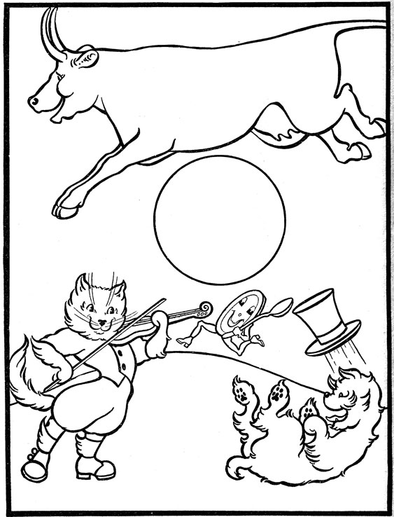 Free hey diddle diddle fiddle coloring pages
