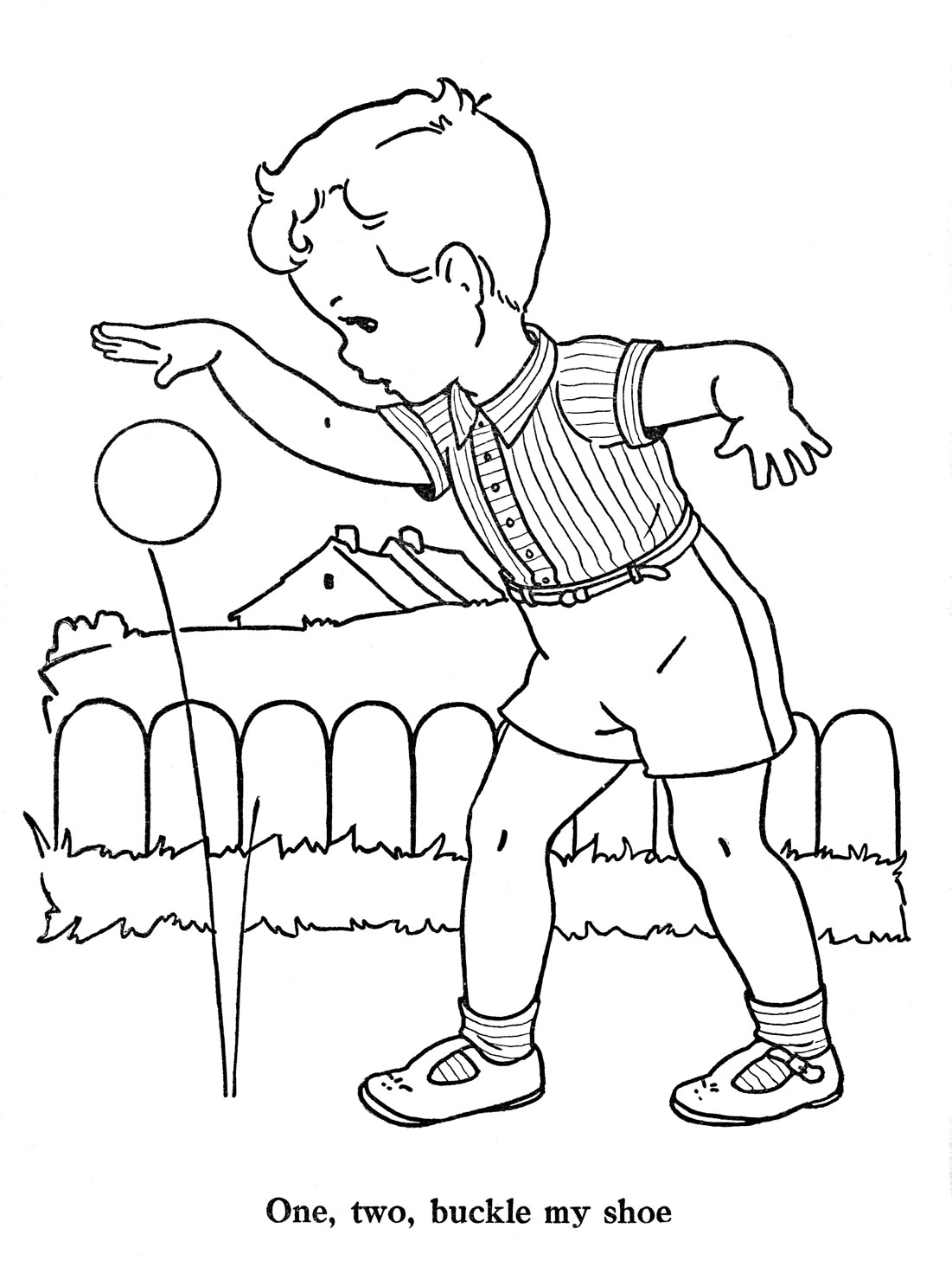 One Two Buckle My Shoe Colouring Pages