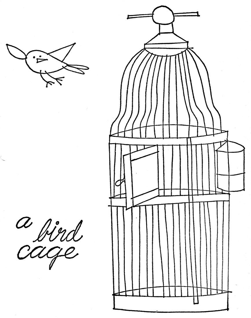 bird cage coloring page