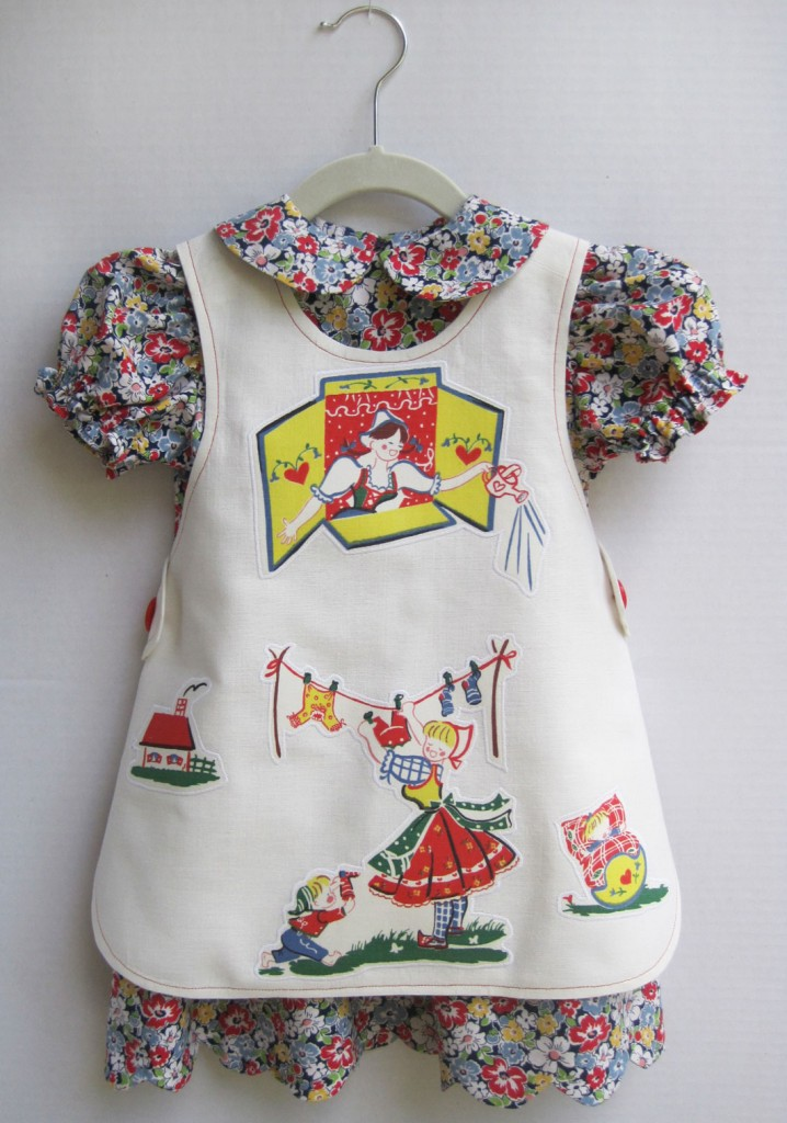 Toddler Dress With Appliqued Linen Apron Q Is For Quilter