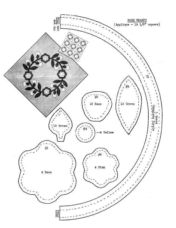 Farm Journal Quilt Pattern – Rose Wreath, 1937