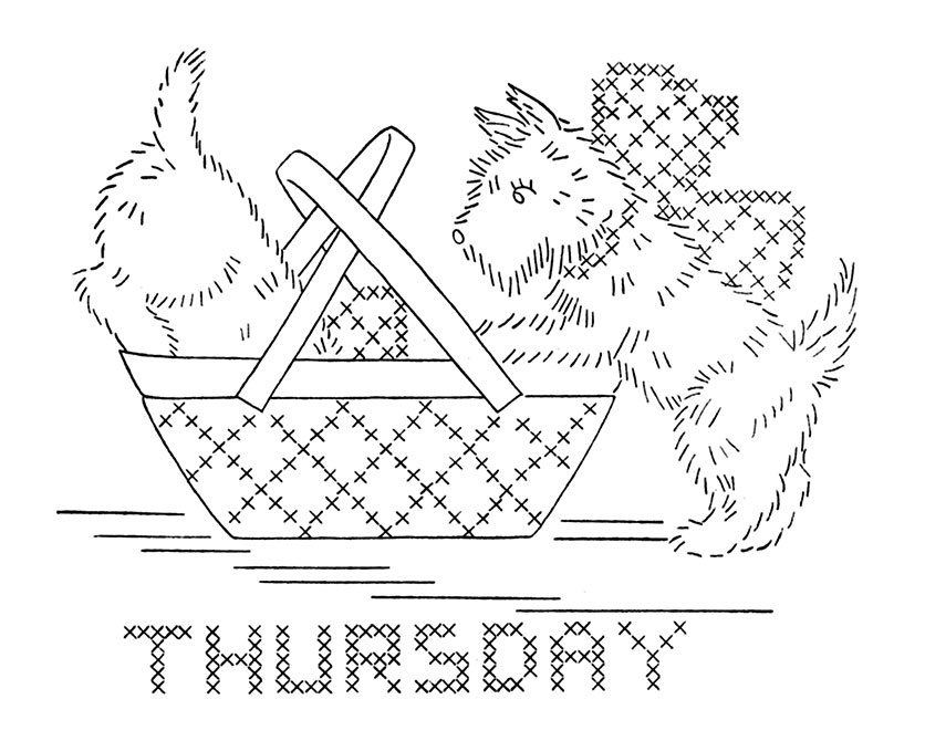 Vintage Dog DOW Embroidery Transfers