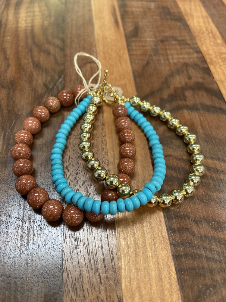 Three Strand Bracelet with Sandstone, Turquois and Hematite with Toggle Style Clasp