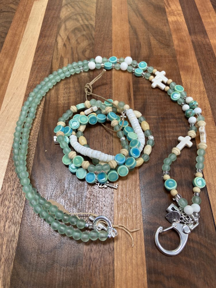 Lanyard and Bracelet Set with Adventurine, Howlite, Stone, Wood and Silver Accents