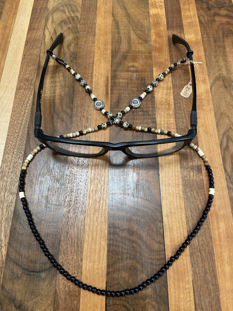 Eye Wear Stampede Strings with Silver Alloy Accents, Sterling Silver Accents, Dalm, Picture and Black Jasper
