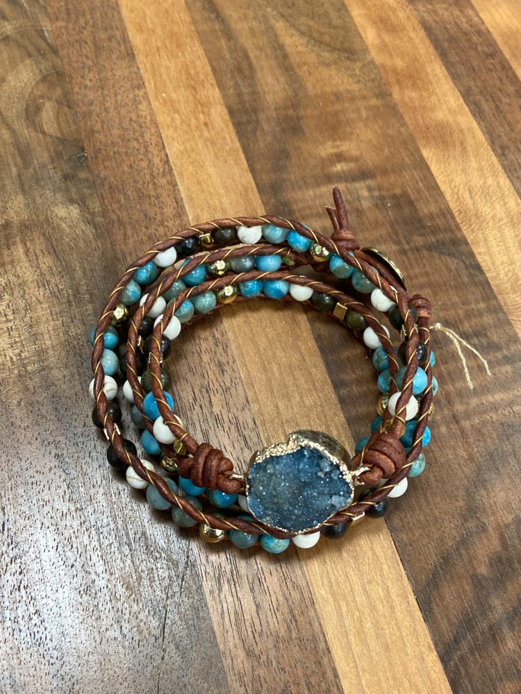 Link Three Wrap Leather Bracelet with Druzy Agate, Howlite, Turquoise, Jasper, Hematite all on Cedar Colored Leather