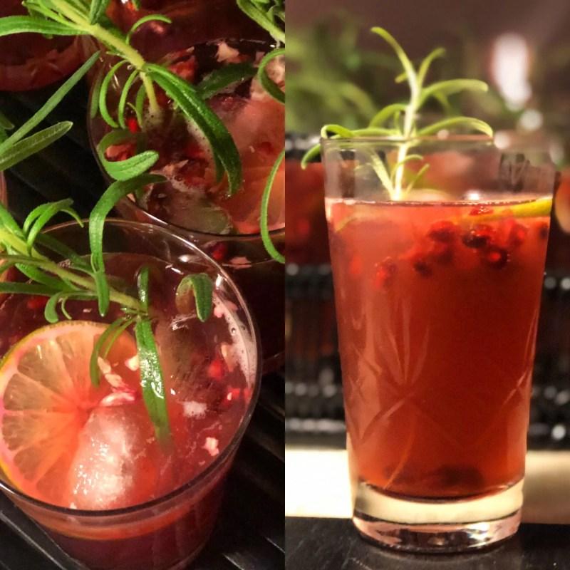 Juledrink med gin og tonic og granatæble
