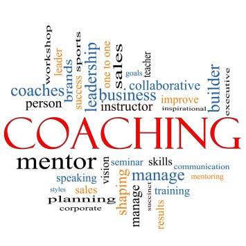 A Coaching word cloud concept with terms such as leader, mentor, seminar,executive coach, sports, goals and more.