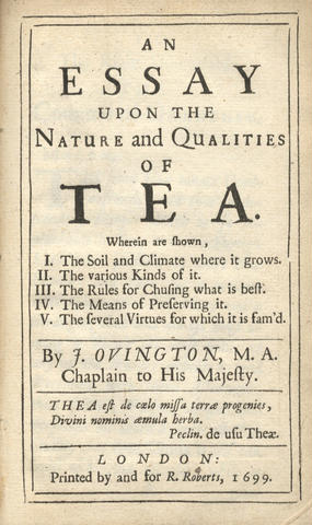 John Ovington's Tea Essay, 1699