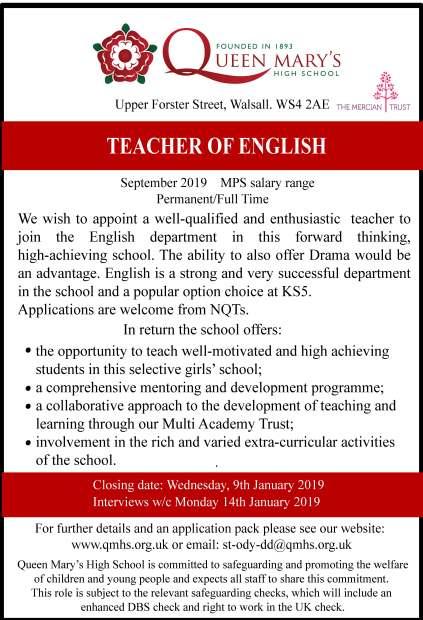 advert teacher of English Sept 2019