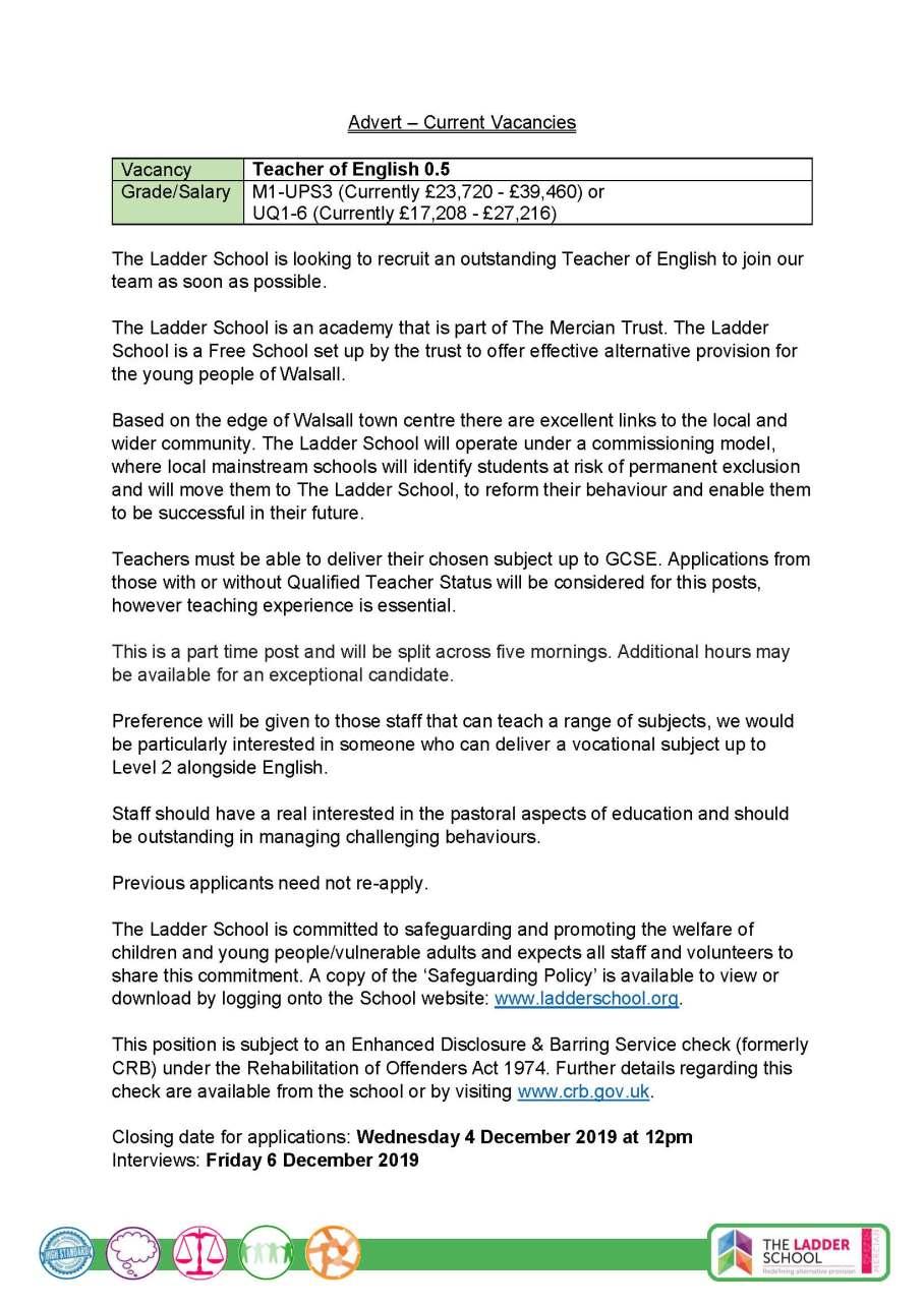 Advert English Teacher November 2019 Ladder School