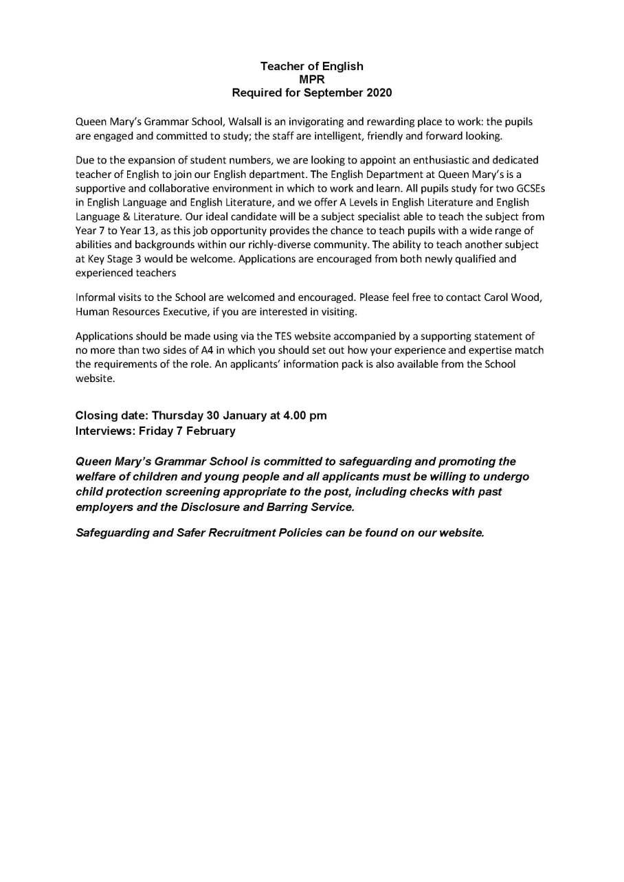 QMGS Teacher of English advert Jan 2020