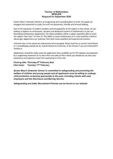 QMGS Teacher of Maths advert Jan 2020