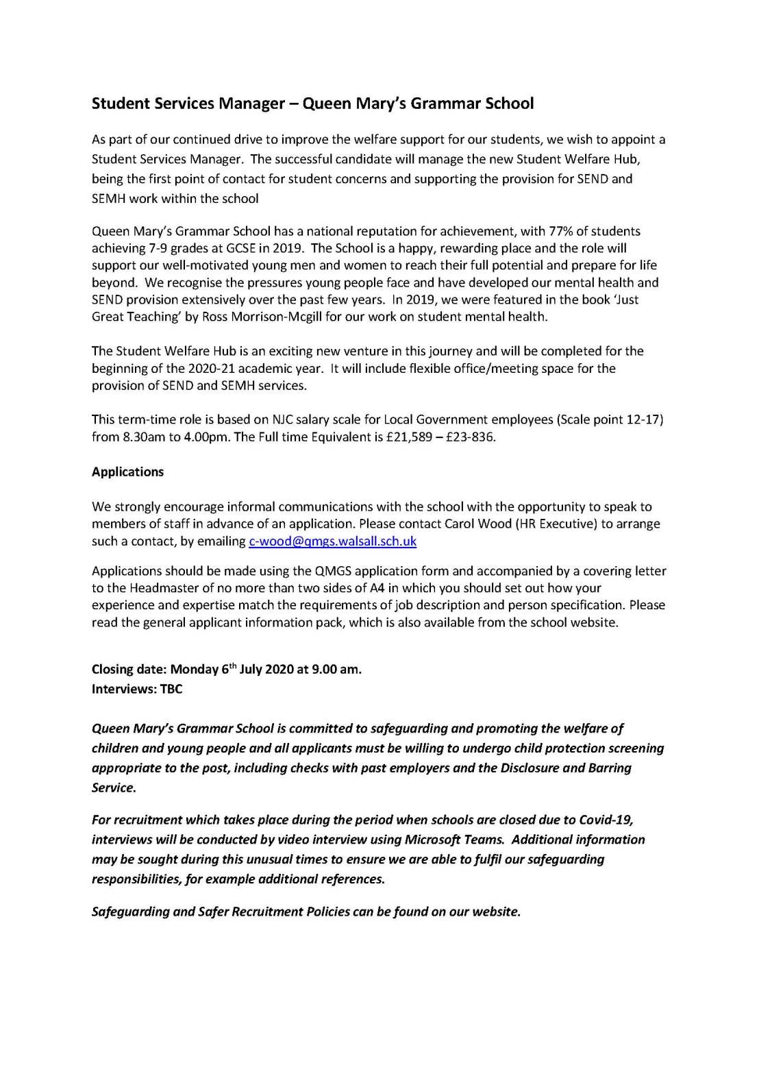 Student Services Manager QMGS Advert