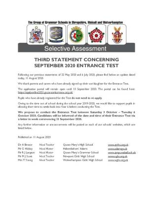 STATEMENT CONCERNING SEPTEMBER 2020 ENTRANCE TEST3