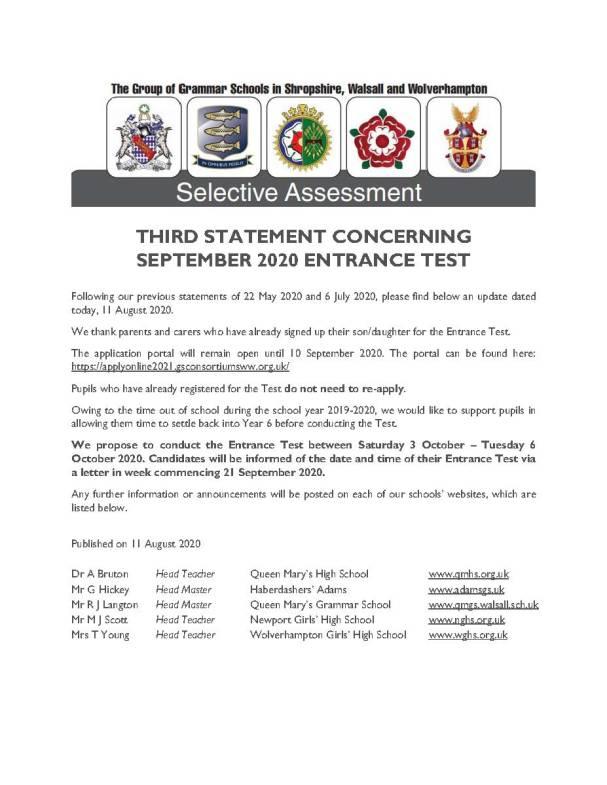 STATEMENT CONCERNING SEPTEMBER 2020 ENTRANCE TEST3