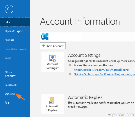 How to Change the Startup Folder in Outlook 2016/2019 3