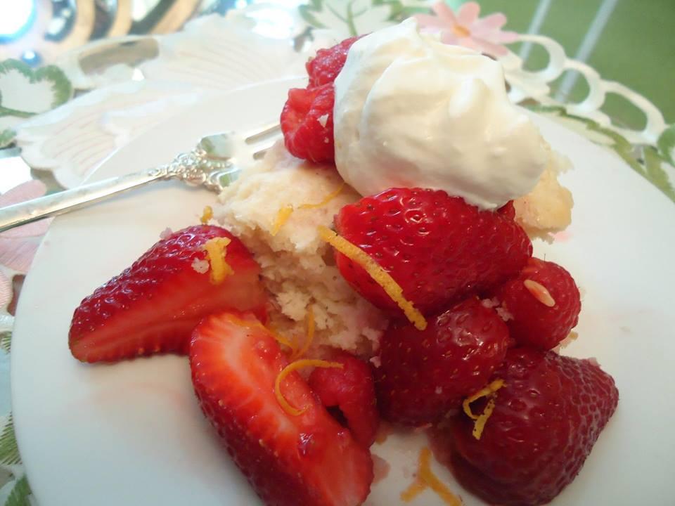 Hidden Ice Cream Strawberry Shortcake with Honey Whipped Cream