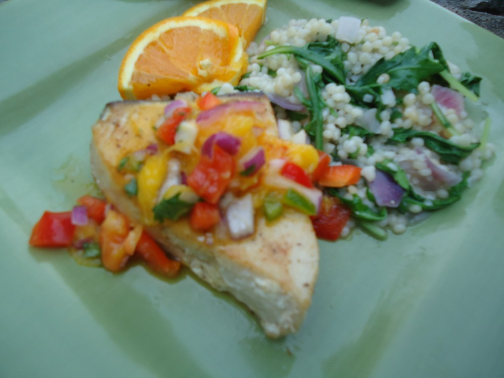 Swordfish with Mango Salsa and Couscous