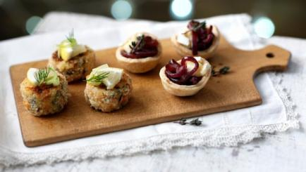 Red onion and Brie tartlets