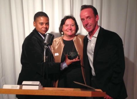 From left, Guild Vice President Jai Taylor and Guild President with Entrepreneur of the Year Dan Mauney.