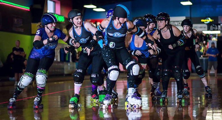 The Gastonia G*Force battle against the Marietta Derby Darlins during a bout on June 8. Photo Credit: Derby Retina