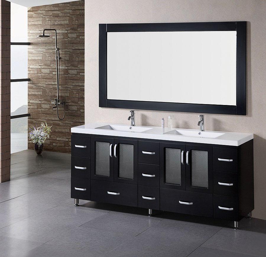 black bathroom vanity with double sinks (6791)