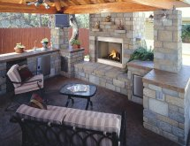 Outdoor Kitchen Fireplaces Designs