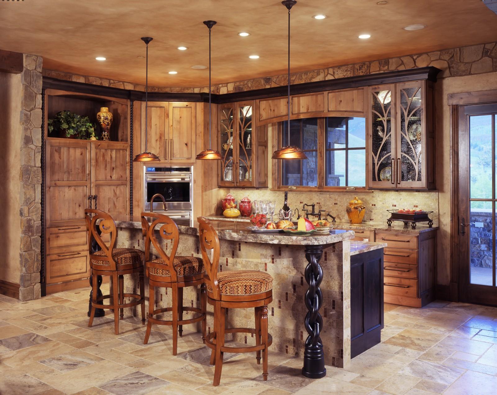 Beautiful Mountain Homes Design Kitchen · Rustic Kitchen Island Designs
