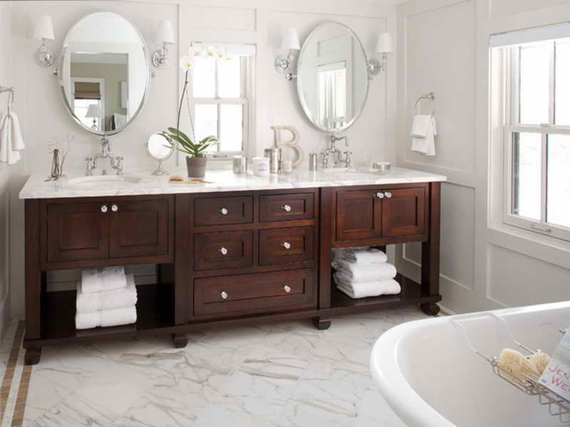traditional double sink vanity for a