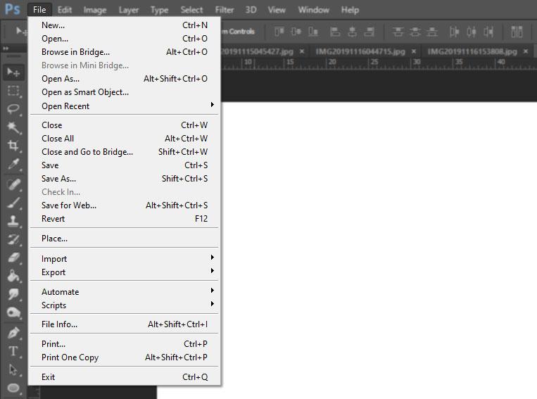 menu file photoshop
