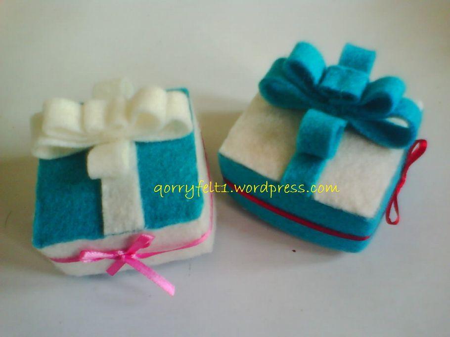 Kotak Cincin Hias Bunga Flanel Dan Pita  Qorry Felt n Craft