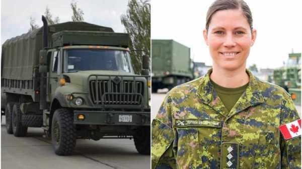 camión de la Fuerza Armada y una soldado
