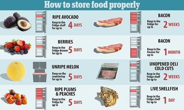 What is the correct way food should be stored in the ...