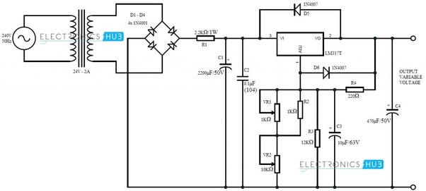 What are the components of variable power supply 0-30v